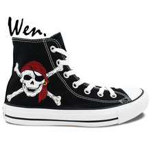 Wen Canvas Athletic Shoes High Top Pirates Of The Caribbean Skull Hand Painted Shoes Design Custom Unisex Play Sports Sneakers