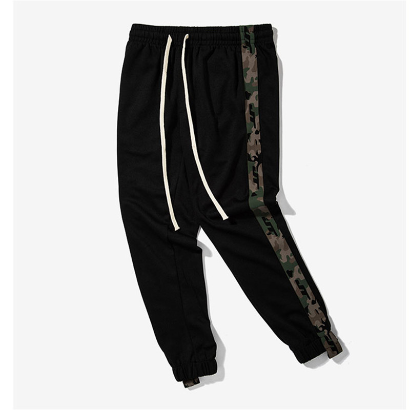 2017 New Mens Side Stripe Camouflage Track Pants Men Retro Elastic Waist Drawstring Sweatpants Black Track Sweatpants S-XXL ...