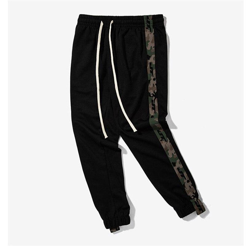 2017 New Mens Side Stripe Camouflage Track Pants Men Retro Elastic Waist Drawstring Sweatpants Black Track Sweatpants S-XXL ...