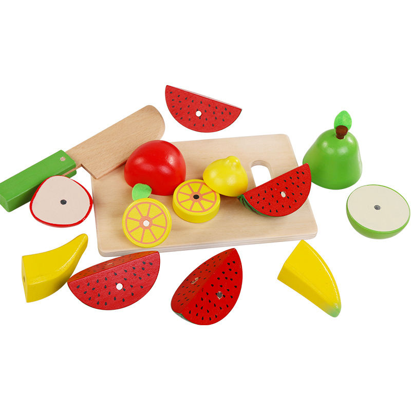 Wooden Kids toys simulation Cutting of fruits and vegetables kitchen toys for children education Wooden toys gifts XWJ373-