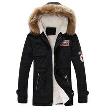 Zima Parka męskie płaszcze 2018 gruba ciepła kurtka mężczyźni bawełna odzież z kapturem ciepły płaszcz Top Plus aksamitna para bawełniana Parka płaszcz