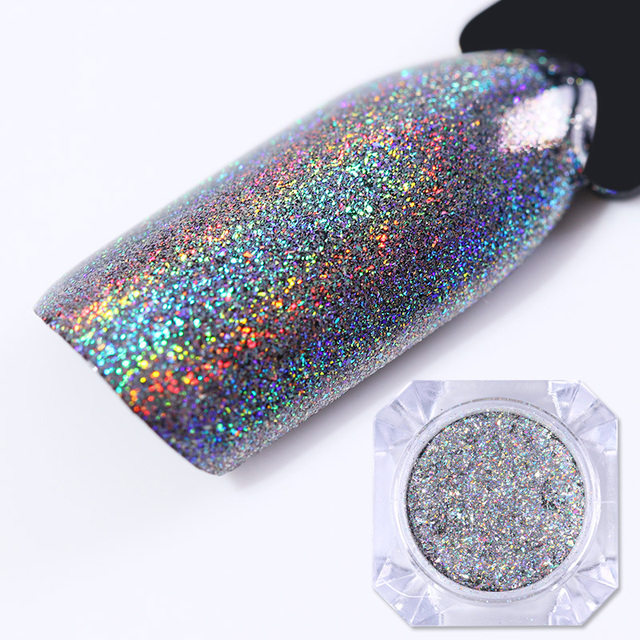 Holographic Galaxy Nail Glitter Powder Iridescent Flakes Laser UV ...
