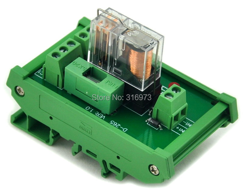 DIN Rail Mount Fused DPDT 5A Power Relay Interface Module, G2R-2 12V DC Relay.DIN Rail Mount Fused DPDT 5A Power Relay Interface Module, G2R-2 12V DC Relay.