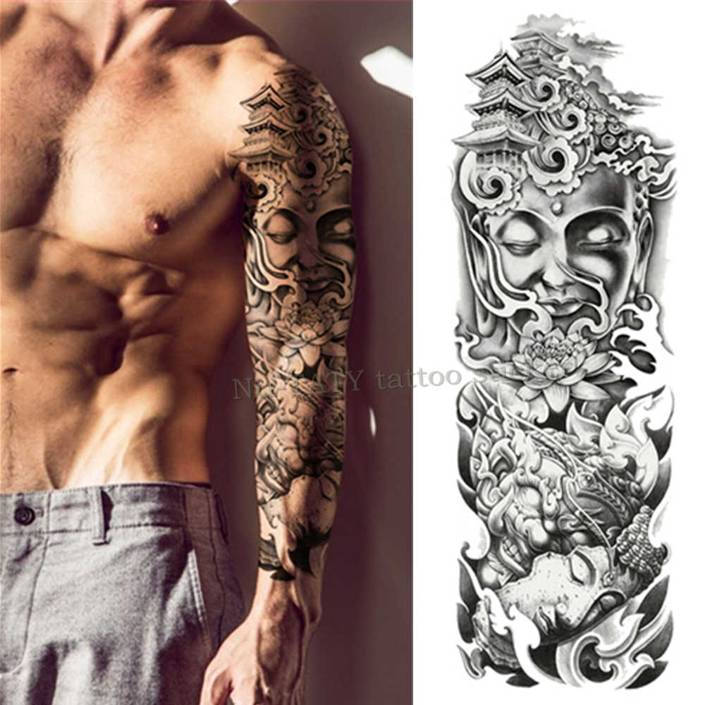 159e2ccd0e088 Mechanical iron arm rose Large Arm sleeve Tattoo Waterproof temporary tattoo  Sticker Men Full Flower Tatoo