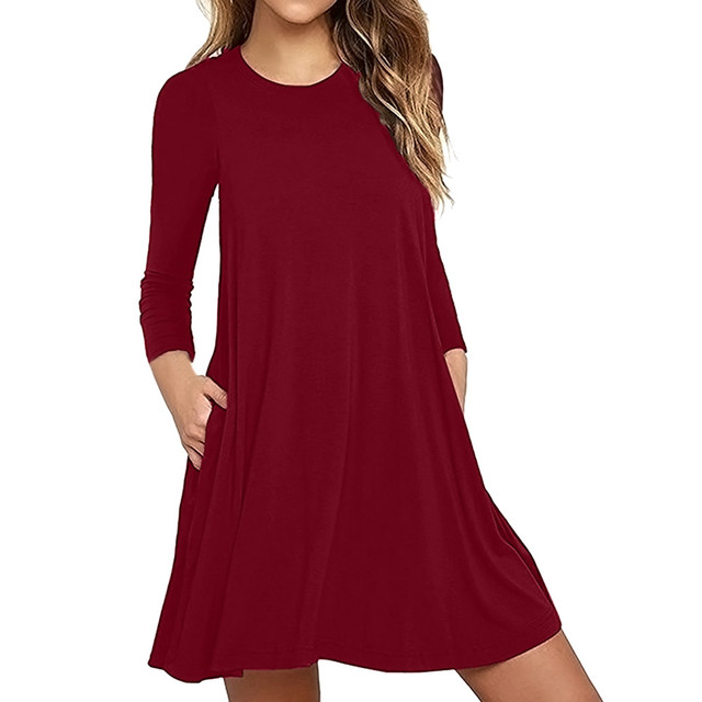 87a507518b Fashion Red Khaki Black Green Navy Purple Summer Dress Women s Long Sleeve  Pocket Casual Loose T-Shirt Evening Party Dress  70