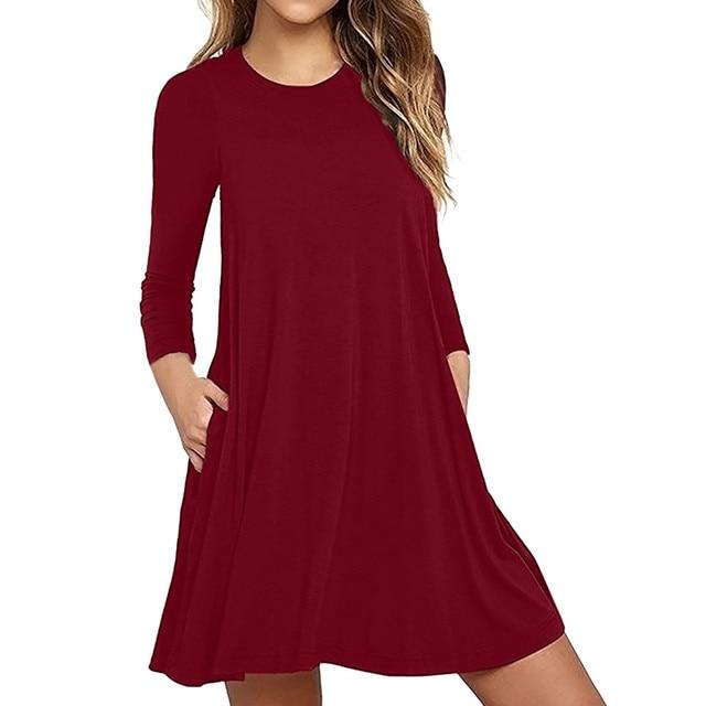 f0fe1968d97e Fashion Red Khaki Black Green Navy Purple Summer Dress Women s Long Sleeve  Pocket Casual Loose T