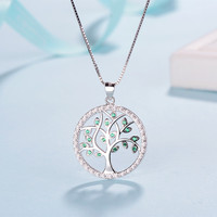 Sterling silver 925 tree of life necklace in jewelry pendant necklace with green CZ chain necklace 925 silver jewelry for women