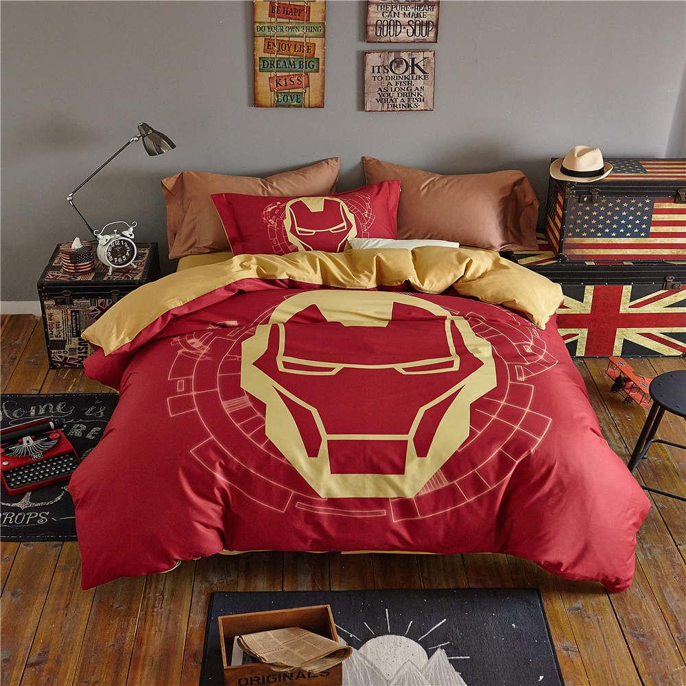 3D marvel iron man comforter cover sets queen size boys cartoon home textile egyptian cotton bedding disney bed linen 4pc girls