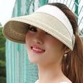 Nuevas mujeres del verano del sol de moda de ala ancha de paja sombreros exterior flojo de la playa sombrero para las muchachas