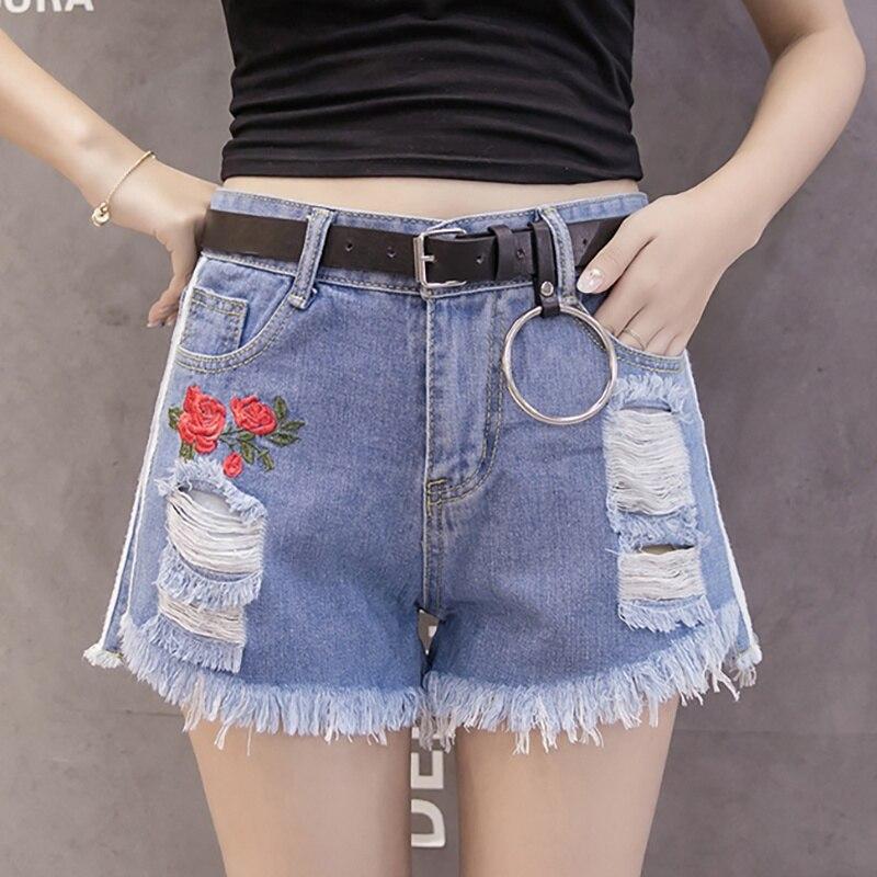 Rose Flower Embroidery Hole Jeans Shorts Women Vintage White Denim Ripped Fringe Shorts Raw Edge Sexy Mini Shorts