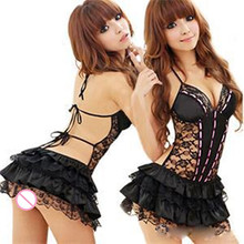 Hot Sexy Costumes Details Sexy Lingerie Dress Underwear Backless Lace Set Erotic Lingerie+g-string Black