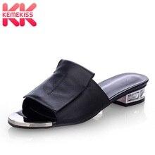 Купить с кэшбэком KemeKiss Women Genuine Leather Sandals Open Toe 2019 Summer Crystal Low Heels Slippers Sexy Designer Shoes Women Size 34-43