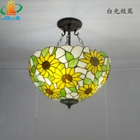 40CM Sunflower Yellow Glass Tiffany Anti Chandeliers Bedroom Living Room Lamps US French Bar Entrance Lighting