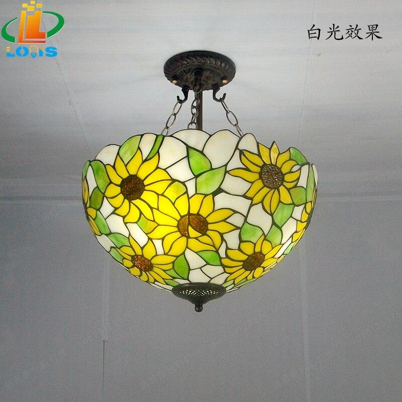 40 см Подсолнух желтое стекло Тиффани анти спальня с люстрами, гостиной лампы США французский бар вход освещение