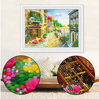 Lovely Town Embroidery Drill Round Diamond Painting DIY Diamond Needlework Wall Painting 5D Special Shaped Diamond
