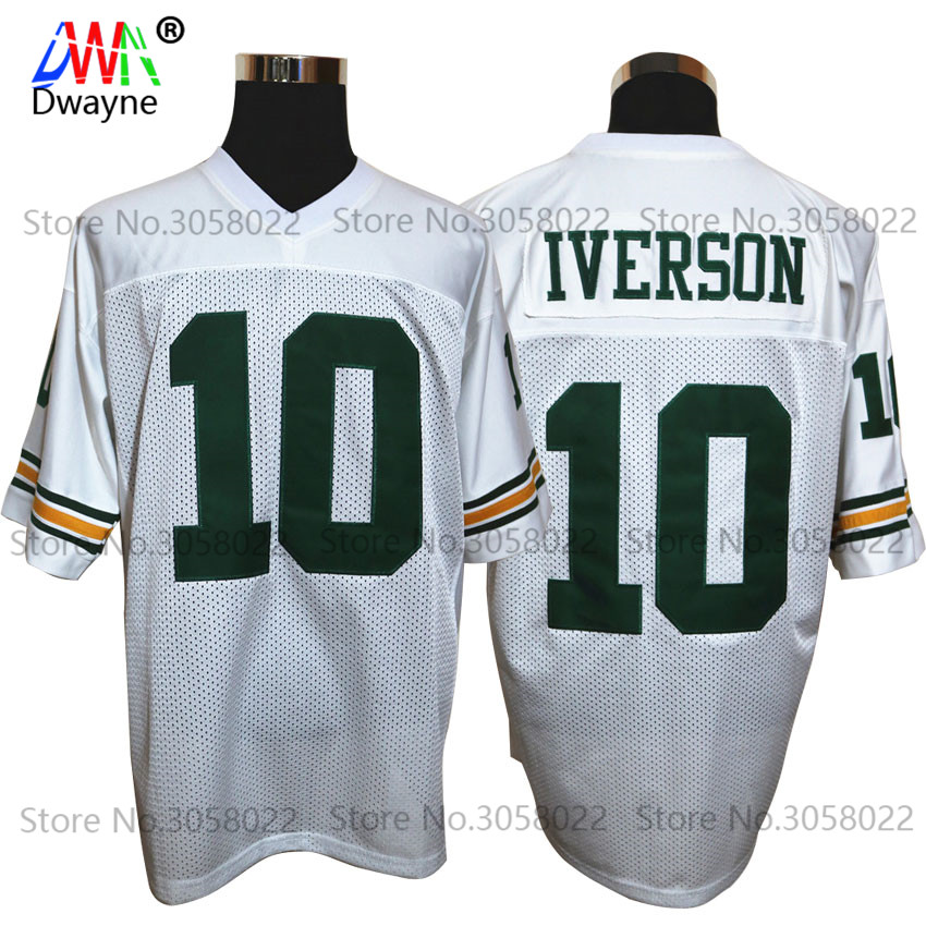 Limited Edition Cheap American Football Jerseys Bethel High School  10  Allen Iverson Jersey Retro Stitched White Shirt for Men c36622695