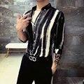 2016 Social Slim Fit Striped Shirts Black White Casual Designer Shirts For Men Long-sleeve Mens Clothing Basic Shirt Club Outfit
