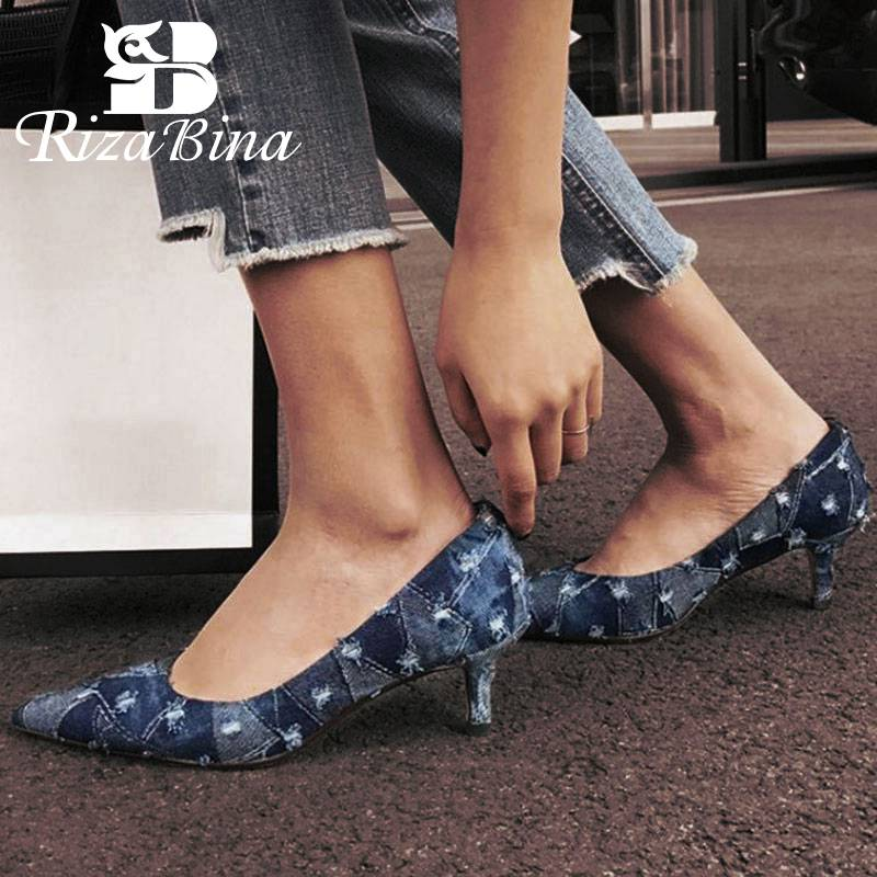 RizaBina Size 33-42 Sexy Office Lady Real Genuine Leather High Heel Shoes Women Pointed Toe Denim Thin Footwear