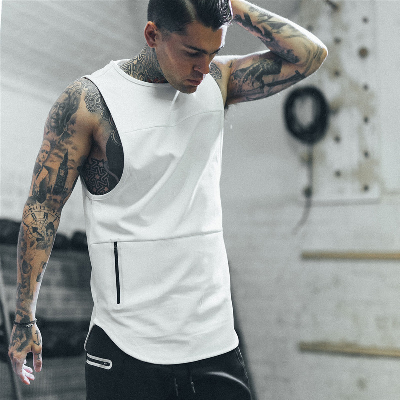 2019 Brand Men Zipper Sleeveless Vest Summer Cotton Breathable Male Tight Gyms Clothes Bodybuilding Undershirt Fitness   Tank     Tops