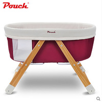Pouch baby bed solid wood baby bed eco friendly cradle bed multifunctional portable folding travel concentretor