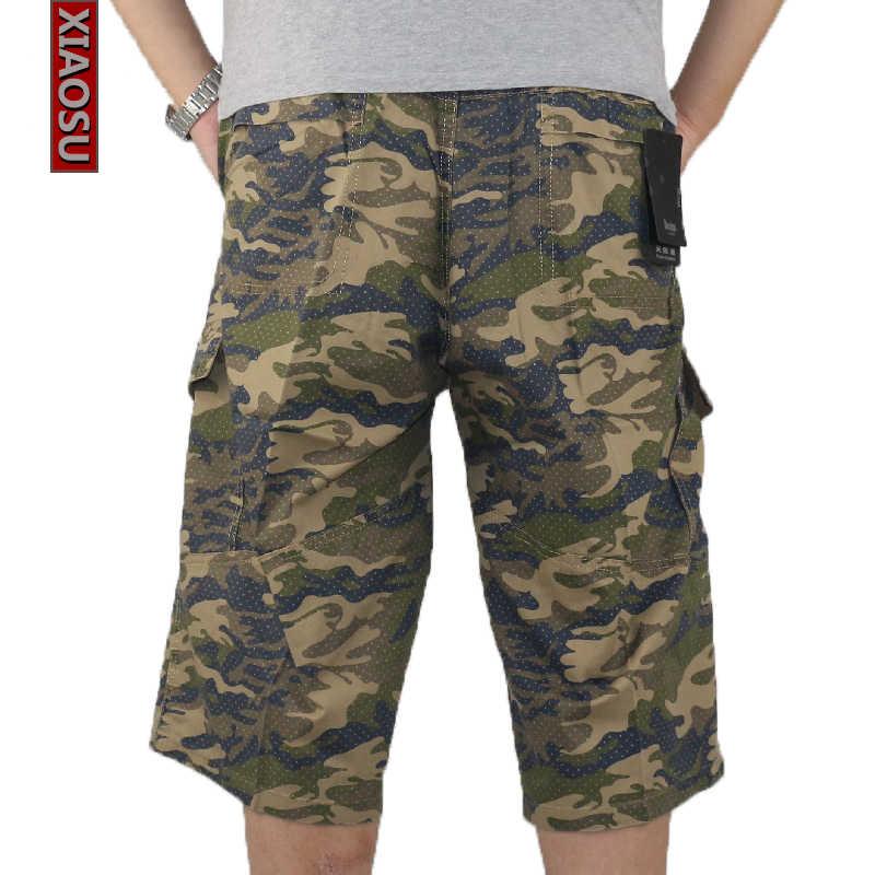 Для Мужчин's повседневные штаны для девочек стрейч летние эластичные свободные камуфляжные капри мужчин армия военная