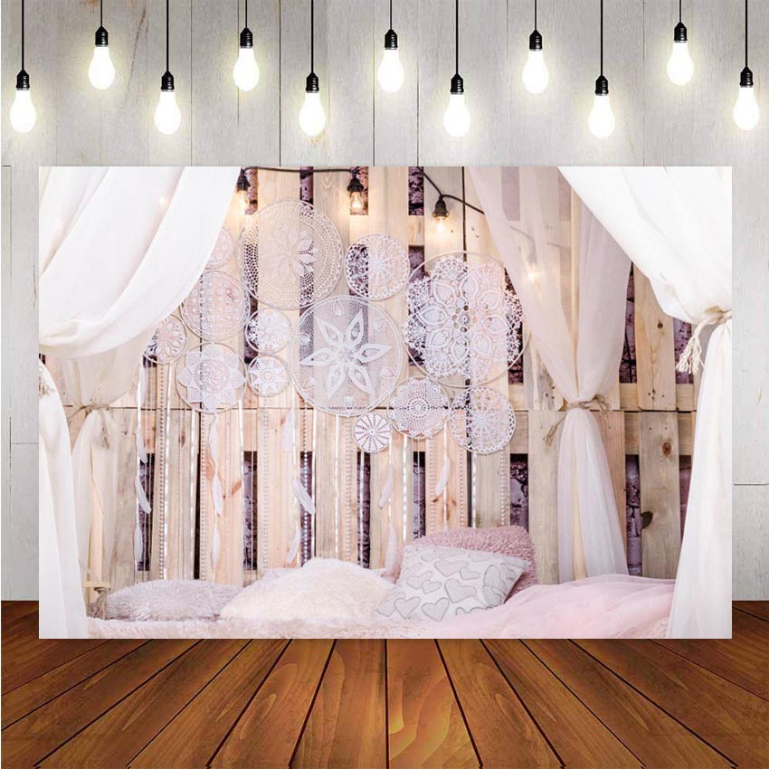Photography Background Boudoir Bed Wooden Board Pillow Curtain Pendant Customized Photographic Decor Backdrop Photo Studio