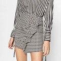 Vintage ZA White Plaid Black Contrast Color High Waist Mini A-Line Skirt Irregular Ruffles Back Zipper New Stylish Women femme