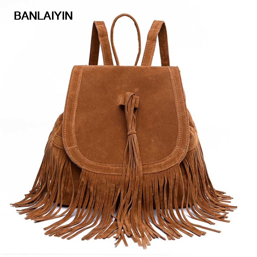 Fashion Women Casual Tassel Women Bag Plush Backpack Vintage High School Bag For Teenager Ladies Cover