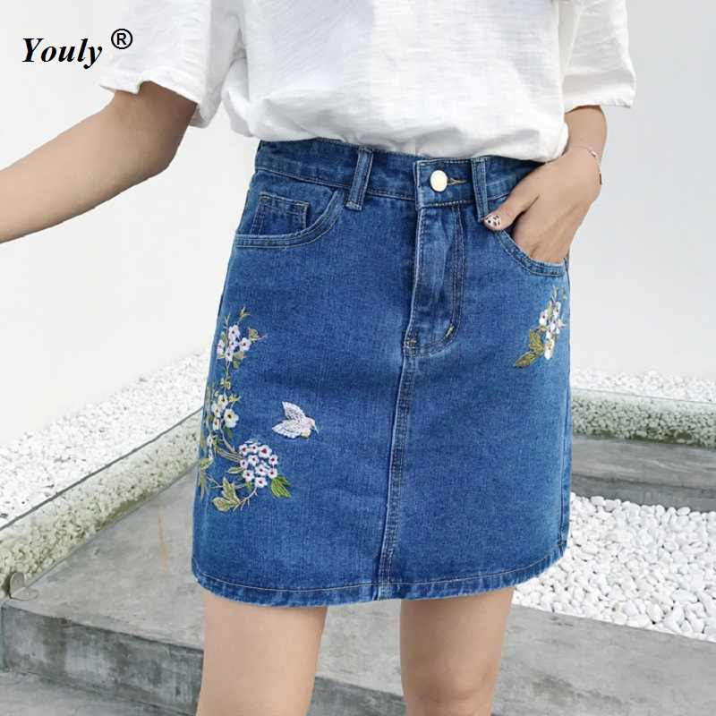 423ca0f17a003 Plus Size Embroidery High Waist Denim Skirts Women 2019 Summer Short Jeans  Skirt Hot Ladies Vintage