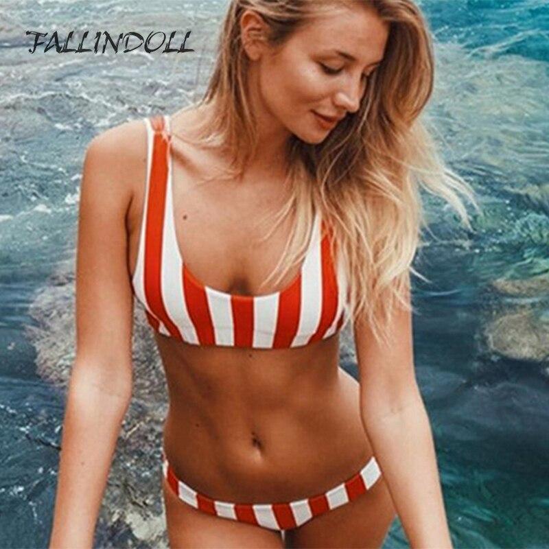 1a1073ab30cd7 FALLINDOLL 2018 Bikini Set striped Swimwear Women Sexy Bench Swimsuit  Bathing Suit Push Up Biquini Brazilian Maillot De Bain-in Bikinis Set from  Sports ...