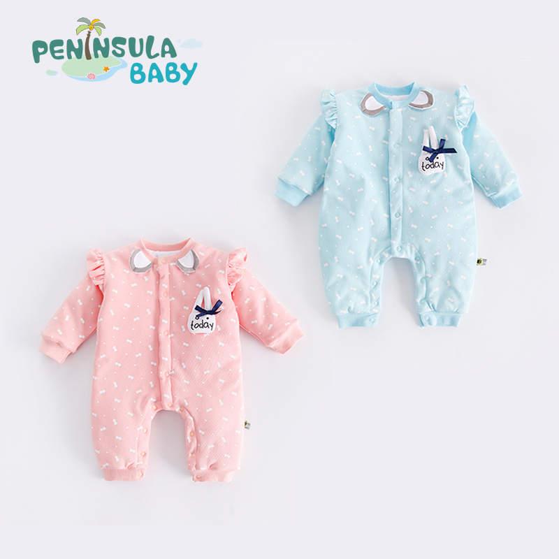 Peninsula Baby Clothing Winter Romper Cotton Padded Full Newborn Baby Girl Warm Jumpsuit Warm Fashion Baby's Clothes C3010 fashion baby rompers cotton padded one piece kid jumpsuit baby boy girl warm clothing for winter 1pcs free shipping