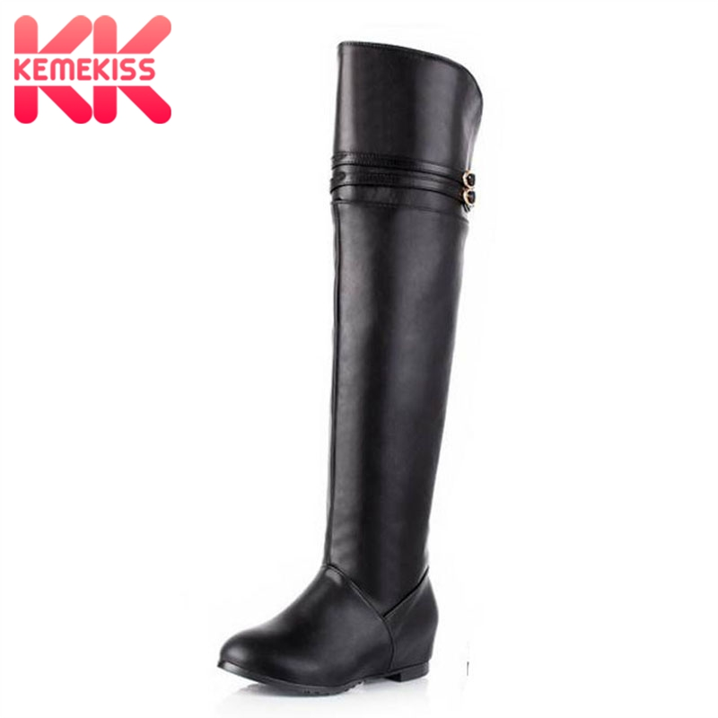 KemeKiss Free shipping knee boots women fashion snow winter footwear wedge shoes sexy warm long boot P8689 EUR size 30-43 free shipping over knee high heel boots women snow fashion winter warm footwear shoes boot p15646 eur size 30 49