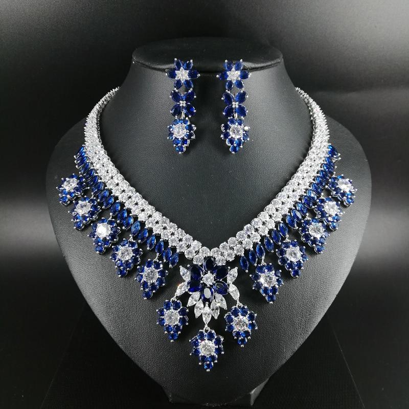 Новинка 2019 года модные роскошные Ретро Романтический синие цветы циркон цепочки и ожерелья серьги комплект, Свадебные невесты звавечерние