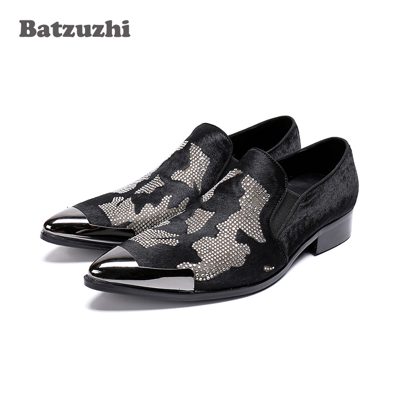 Batzuzhi Handmade Erkek Ayakkabi Men Shoes Metal Cap Black Leather Dress Shoes Men Horse Hair Black Business Party Shoes, US12 fashion horse hair tassels leather leopard pattern flat shoes black brown pair 37