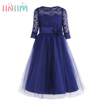 Girls Lace Half Sleeves Princess Pageant Wedding Bridesmaid Birthday Party Dress For Stage Performance Formal Dresses