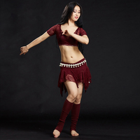 New Arrival Woman S Polyester Lace Belly Dance Suit Stage Performance Belly Dance Short Skirt Top