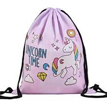 Unicorn 3D Printing Drawstring Bag Cartoon My World School Swimming Backpack School Storage Backpack