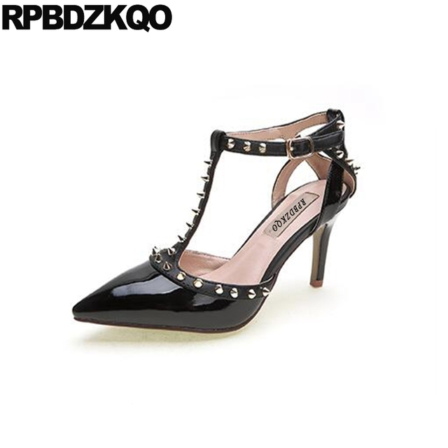 Pointed Toe Pumps Stud Patent Leather Black T Bar Ankle Strap High Heels Brand Designer Shoes