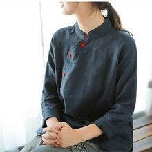 Johnature, одноцветные льняные блузы со стоячим воротником и длинным рукавом, новинка, Осенние повседневные рубашки с вышивкой, 2 цвета