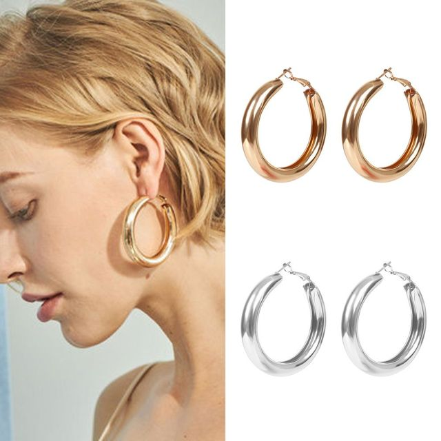 50 Mm Gold Hoops Earrings Minimalist Thick Round Circle For Women Zinc Alloy Trendy