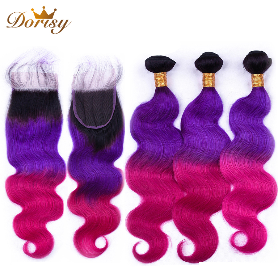 Pre Colored T1b Purple Red Ombre Color Body Wave Bundles With Closure Human Hair Bundles With Closure Malaysia Remy Hair Bundles