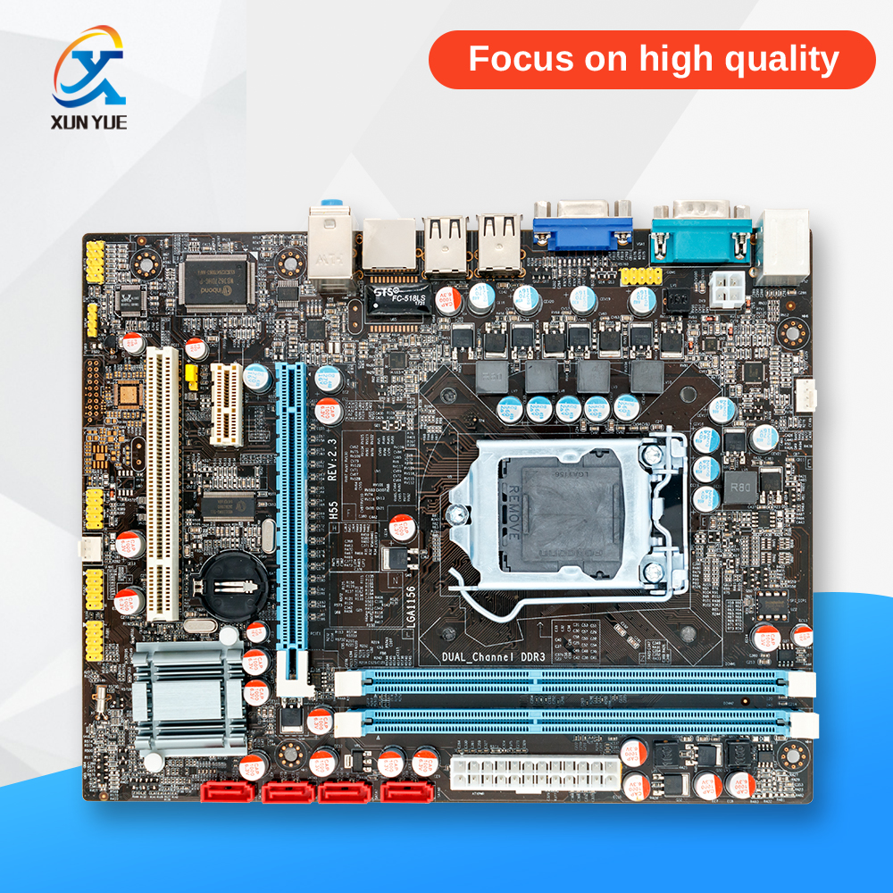 100% OEM New H55 Desktop Motherboard H55 LGA 1156 DDR3 16G For i3 i5 i7 All-Solid Micro-ATX On Sale msi original zh77a g43 motherboard ddr3 lga 1155 for i3 i5 i7 cpu 32gb usb3 0 sata3 h77 motherboard