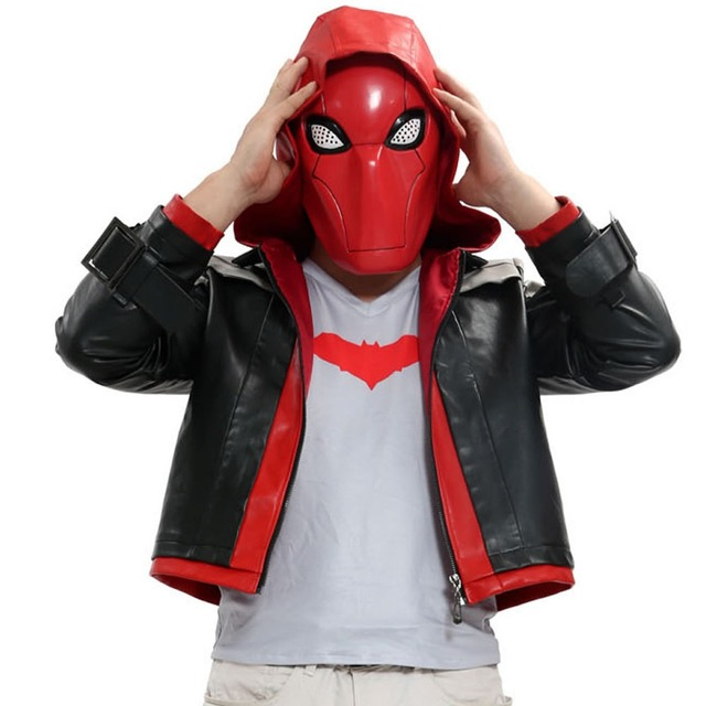Xcoser Red Hood Costume Batman Under the Red Hood Cosplay Cotton T-Shirt and PU Leather Jacket DC Comic Cosplay Halloween Adult
