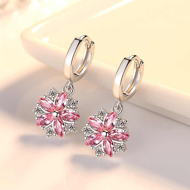 New Fashion 925 Sterling Silver Women Earrings Trendy Pink Flower Round Pendant AAA Zircon Earings Kolczyki Silver Party Jewelry