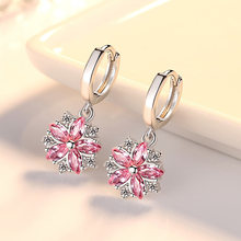 New Fashion Women Earrings Trendy Cute Pink Flower Round Pendant AAA Cubic Zircon Earings Wedding Party Jewelry Gift Accessories