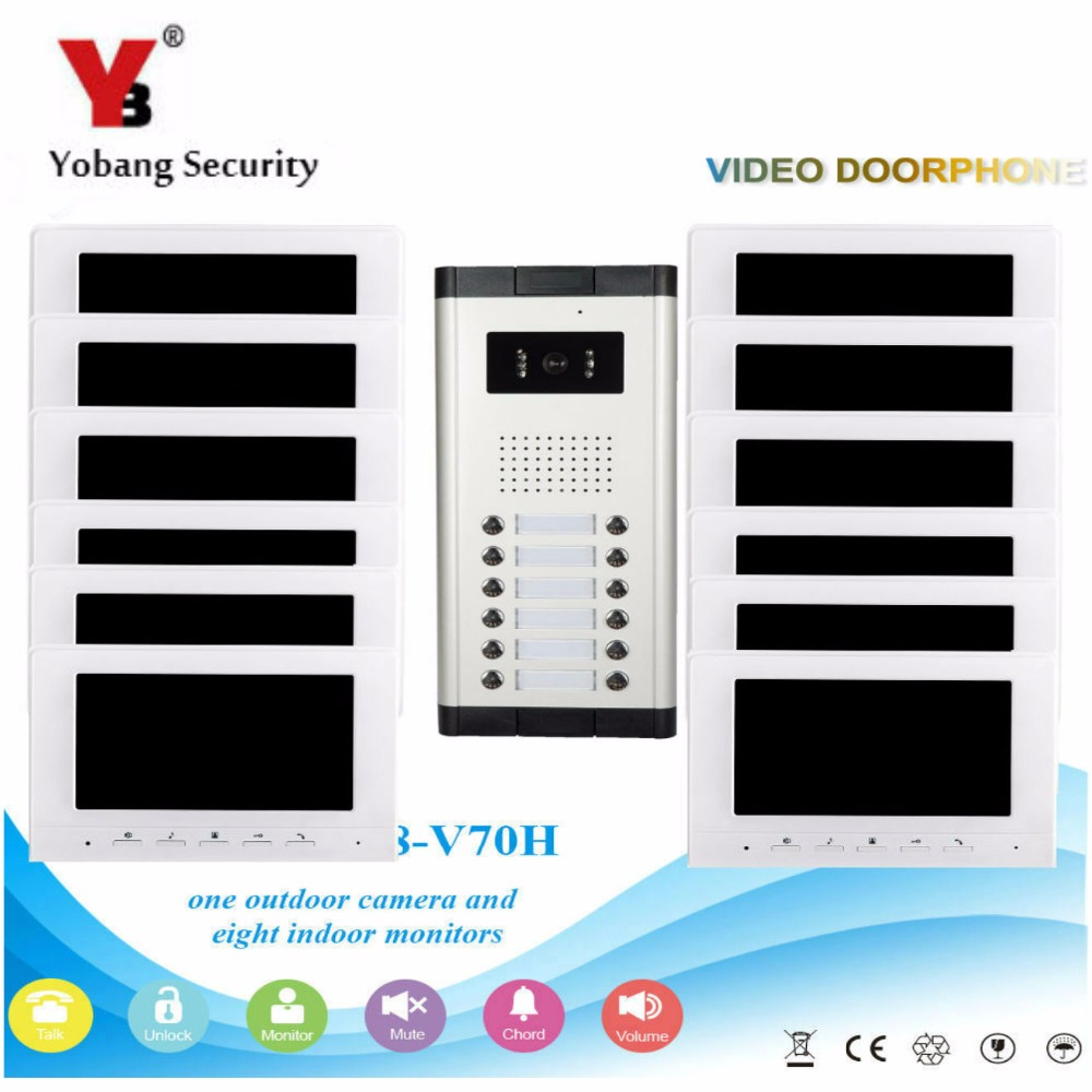 YobangSecurity Video Door Intercom 7 Inch Monitor Wired Video Doorbell Door Phone Intercom 1 Camera 12 Monitor System Kit yobangsecurity wifi wireless video door phone doorbell camera system kit video door intercom with 7 inch monitor android ios app