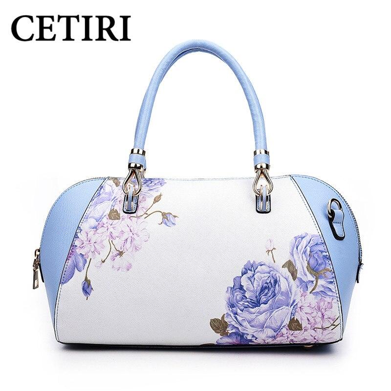 CETIRI Floral Mujeres Bolsa Bolso Para Dama Bolsas De Flor Azul de Impresión de