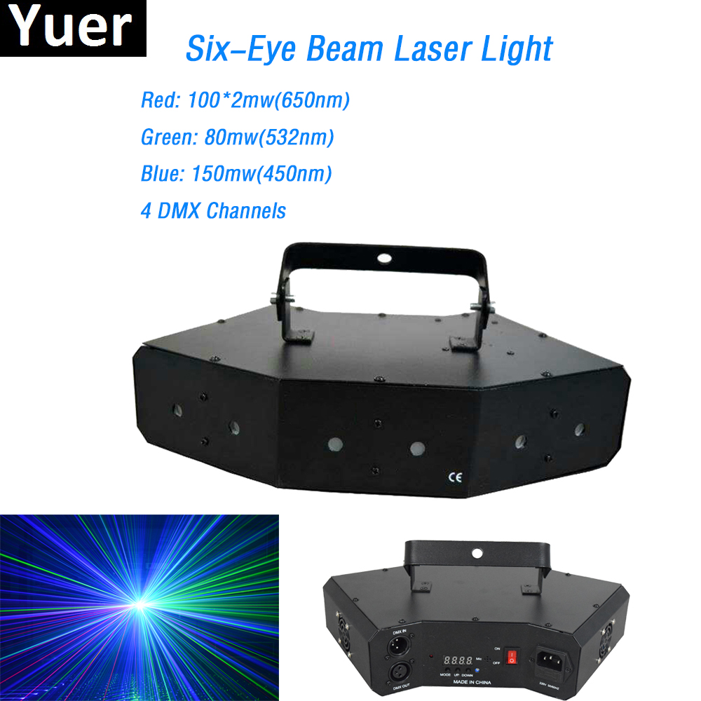 2018 New Factory Price Six-Eyes Beam Laser Light 430mW RGB Full Color DMX Projector Disco DJ Stage Party Club Events Lighting