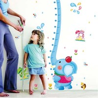 Blue Elephant Height Measure Wall Stickers Decals for kids rooms Art for Baby Nursery Room gifts Decoration Kids Cartoon Poster