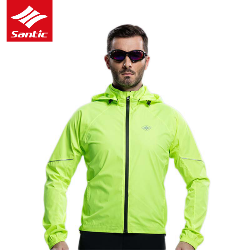 Santic Waterproof Cycling Jacket Men Raincoat Hooded Removable MTB Bicycle Bike Rain Jacket Windproof SPF30+ Long Sleeve Jersey 2016 newest rainproof santic cycling jacket multi function bicycle jerseys windproof breathable mtb bike clothing raincoat
